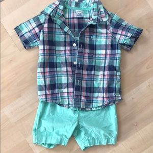 Button up and short set.